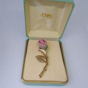 "Gold-tone Rose 2.6"" Brooch"